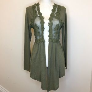 NWT Selfie Olive Green Lace Cardigan Small